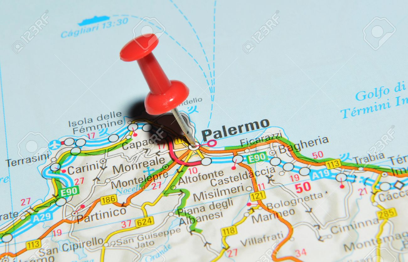London Uk 13 June 2012 Palermo Italy Marked With Red Pushpin