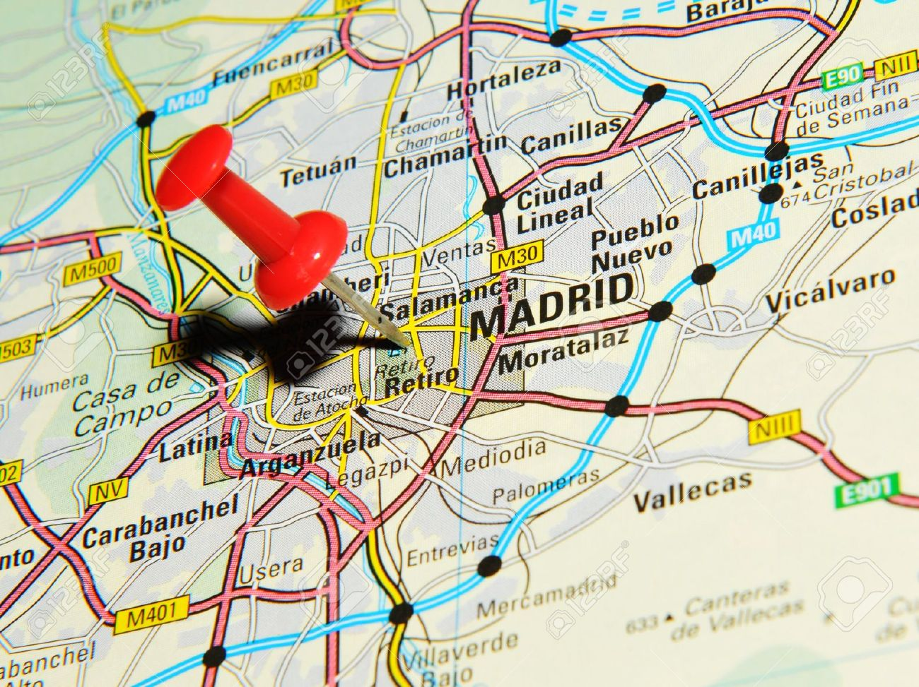 London, UK - 13 June, 2012: Madrid, Spain marked with red pushpin on Europe map. - 14515034