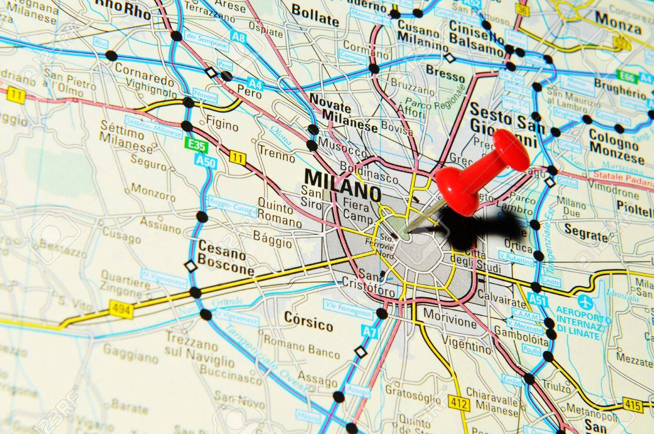 London, UK - 13 June, 2012: Milano, Italy marked with red pushpin on Europe map. - 14515108