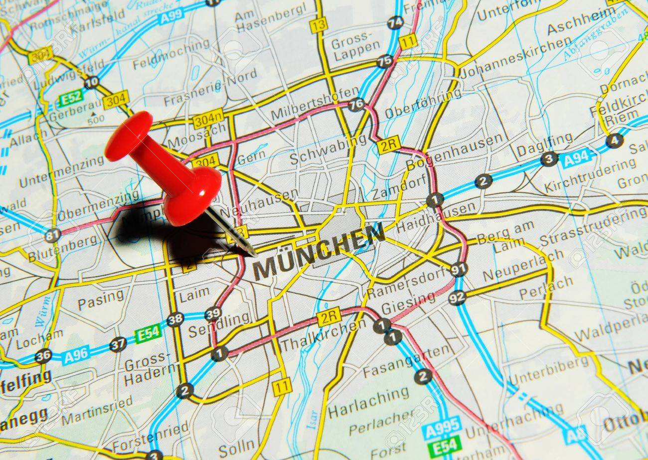 London UK June Munchen Germany Marked With Red - Munchen germany map