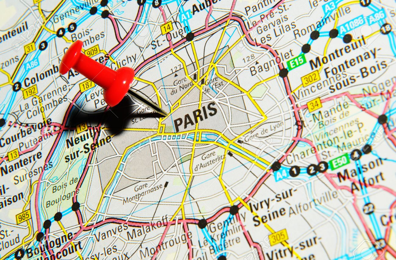 Paris Europe Map.London Uk 13 June 2012 Paris France Marked With Red Pushpin