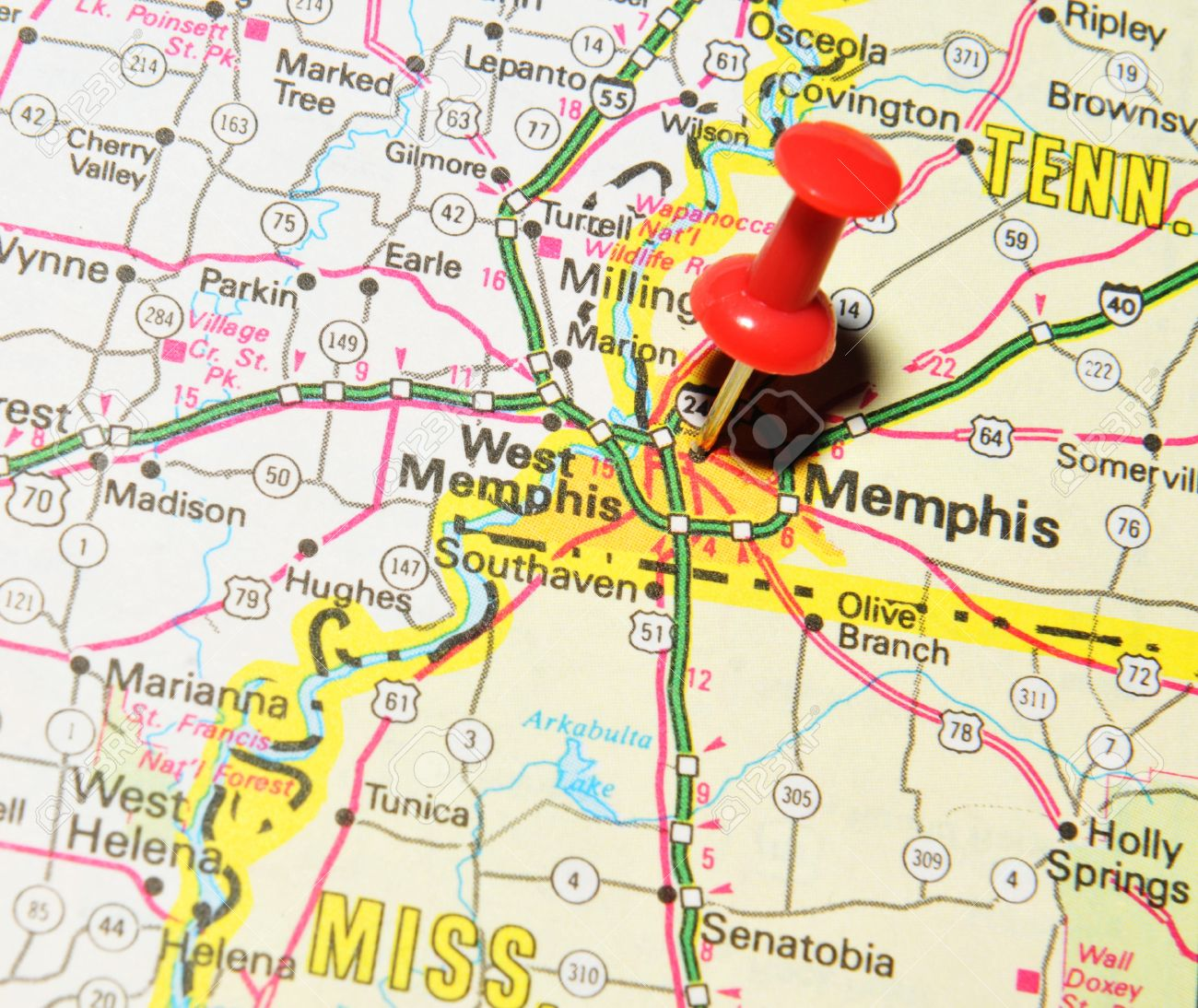 London UK June Memphis Marked With Red Pushpin On - Memphis tn on us map