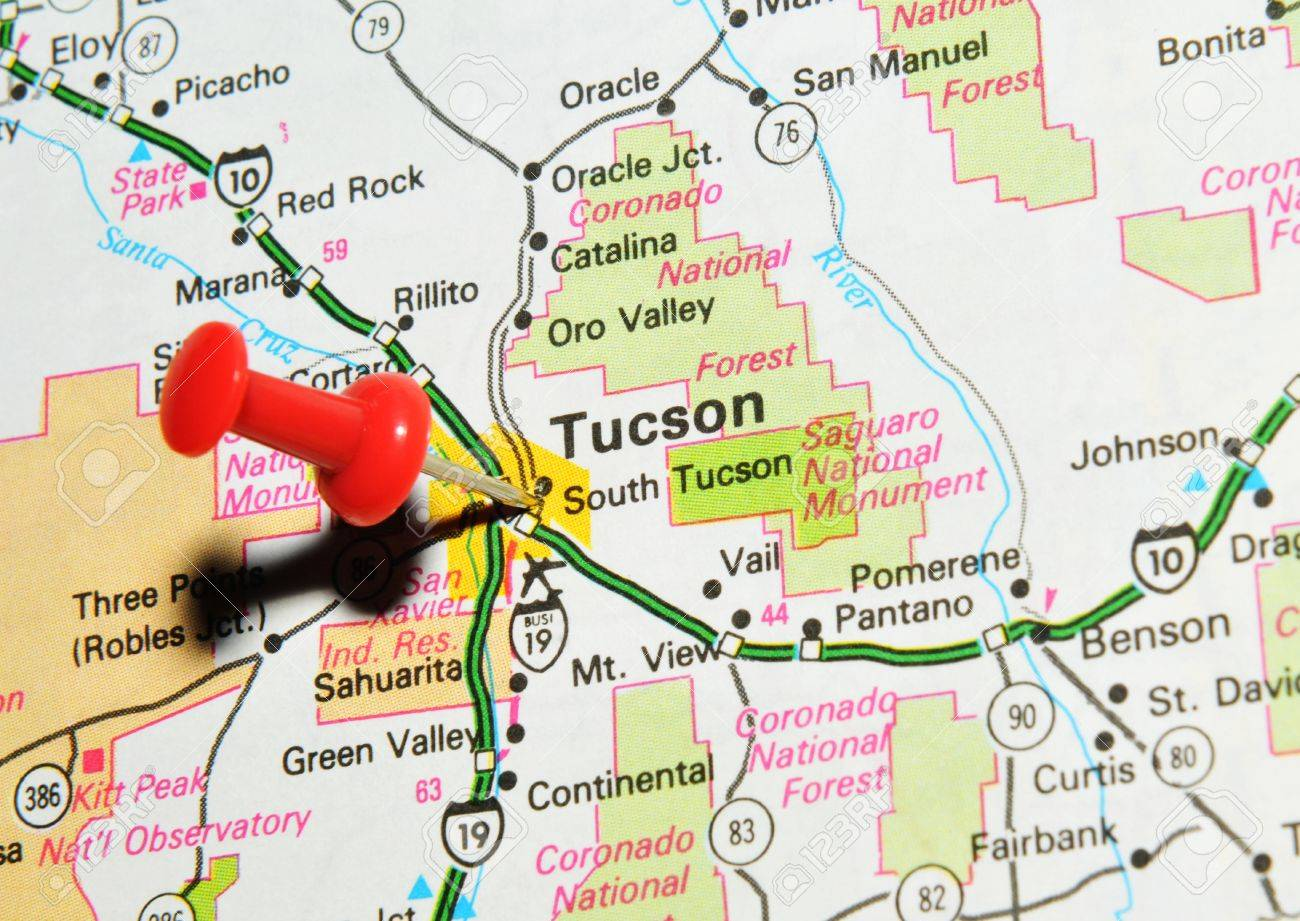 London, UK - 13 June, 2012: Tucson, Arizona Marked With Red Pushpin ...