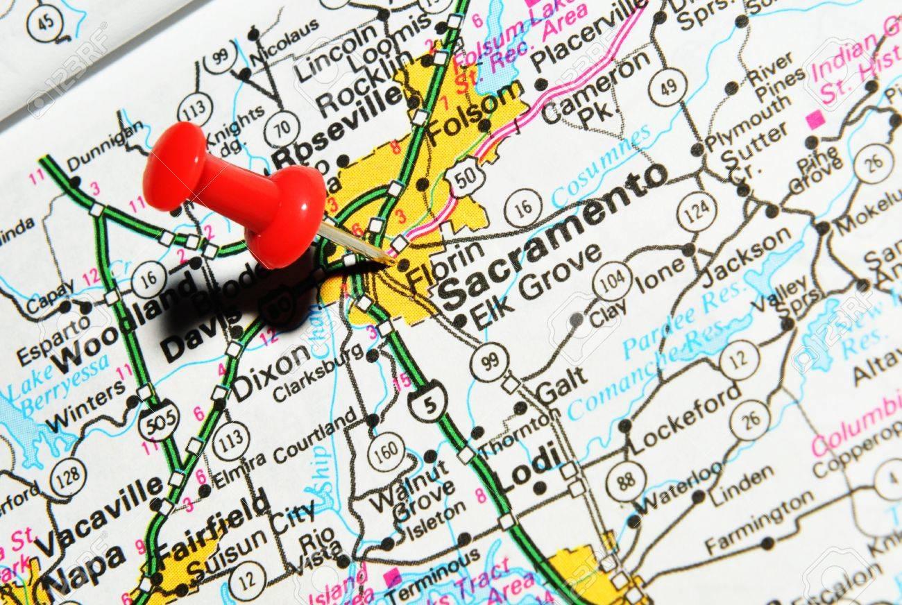 London UK June Sacramento City Marked With Red - Us map sacramento