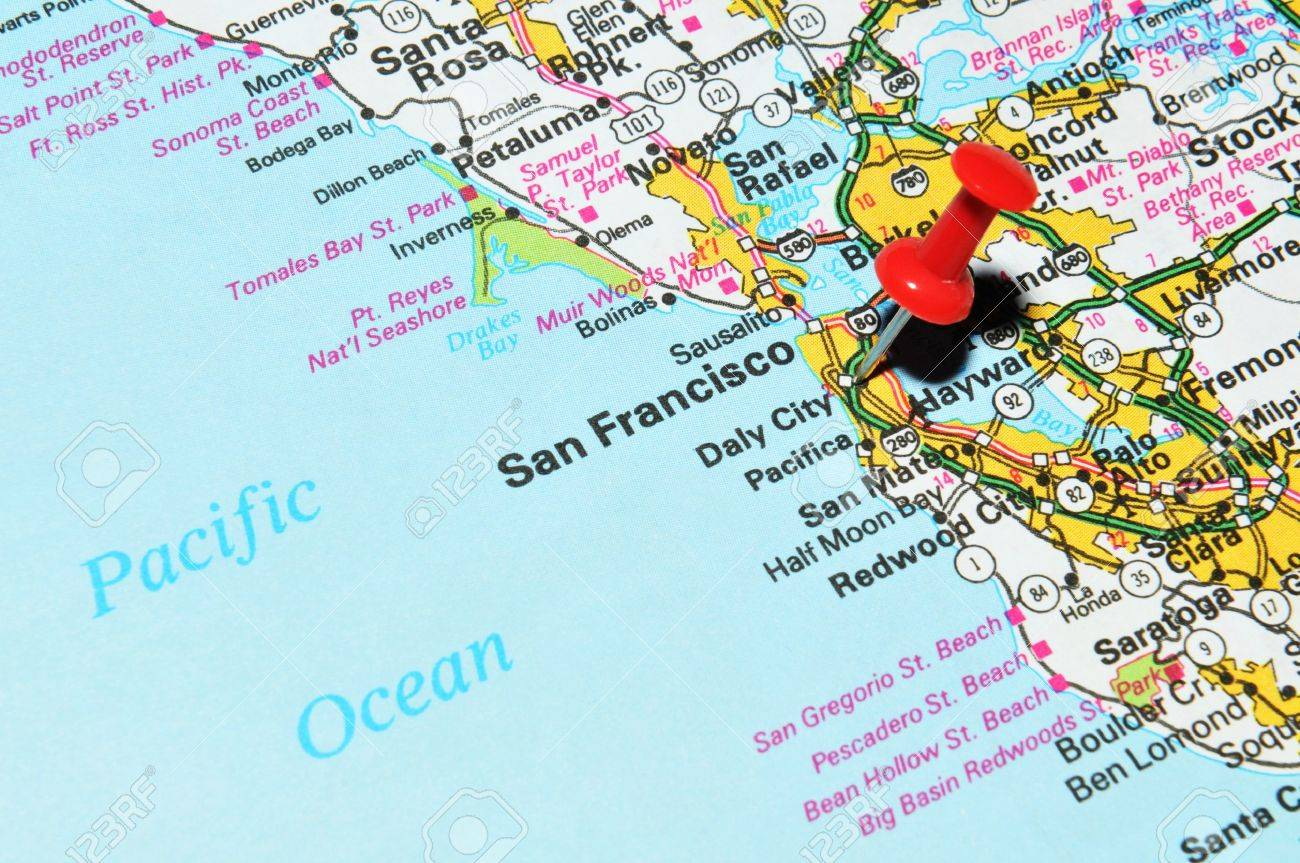 London Uk 13 June 2012 San Francisco City Marked With Red Pushpin