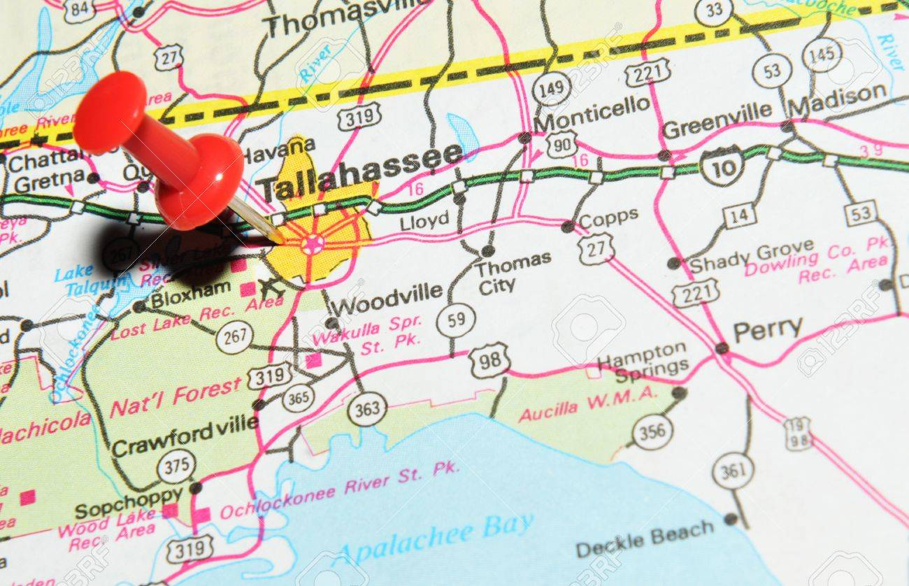 London, UK - 13 June, 2012: Tallahassee , Florida marked with..