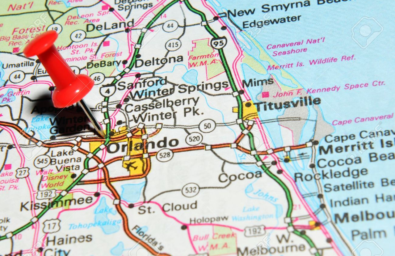 London UK June Orlando Florida Marked With Red - Orlando florida on us map