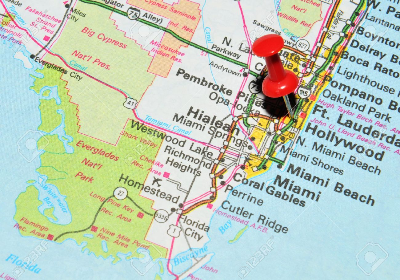 Map Usa Miami Momk Map Map Pin Point Miami Florida Usa Stock - Map of us 41 in florida