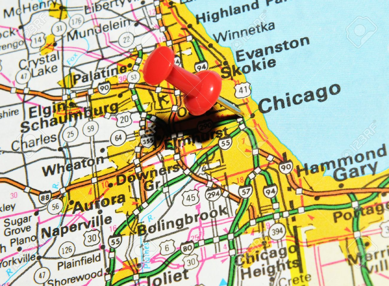 London Uk 13 June 2012 Chicago Illinois Marked With Red Pushpin