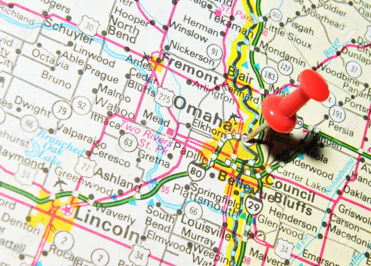 London UK June Omaha Nebraska Marked With Red - Where is omaha on the us map