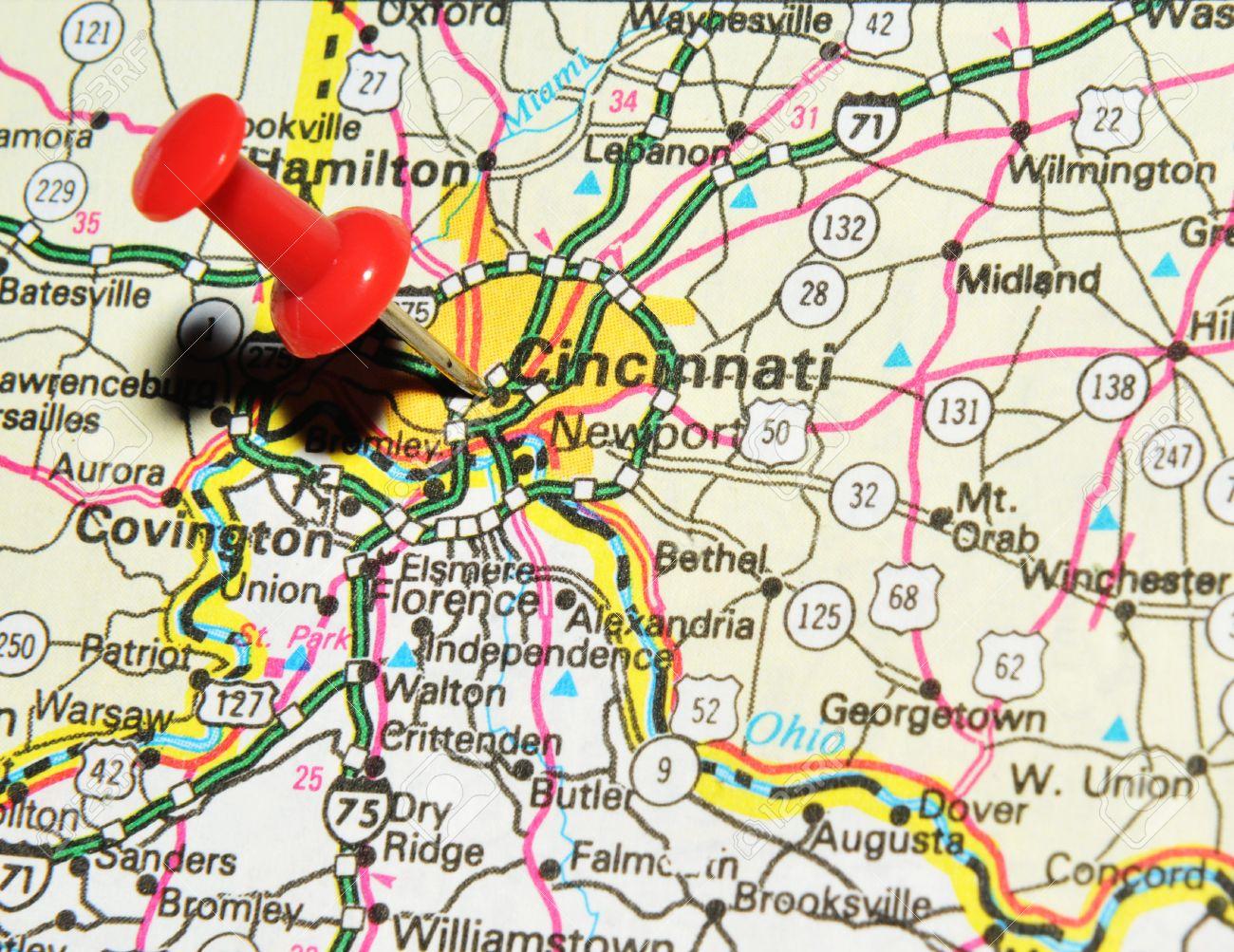 Us Map Cincinnati.London Uk 13 June 2012 Cincinnati City Marked With Red Pushpin