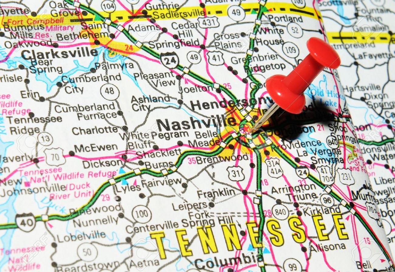 London UK June Nashville Tennessee Marked With - Tennessee map united states