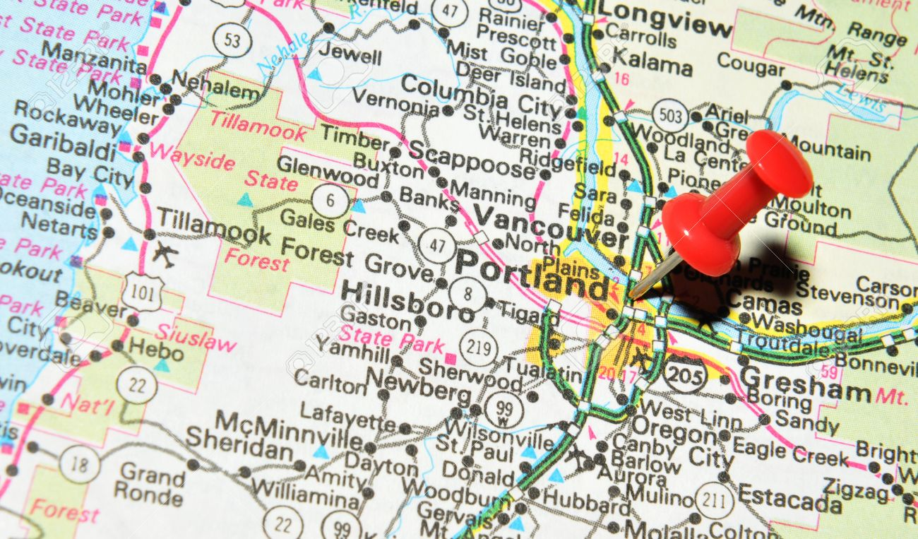 Ondon, UK - 13 June, 2012: Portland, Oregon Marked With Red Pushpin ...
