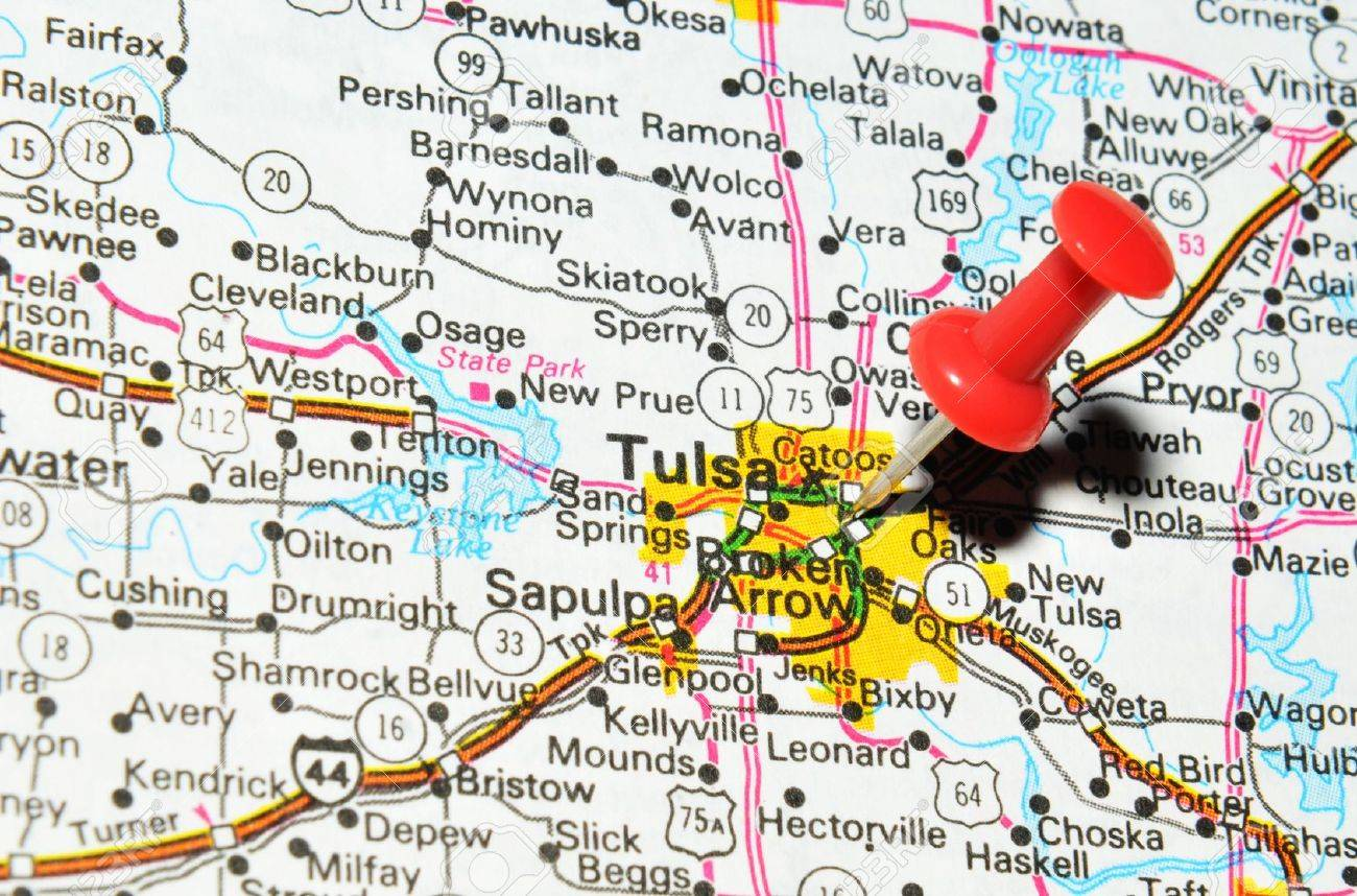 London Uk 13 June 2012 Tulsa Oklahoma Marked With Red Pushpin - Tulsa-on-us-map