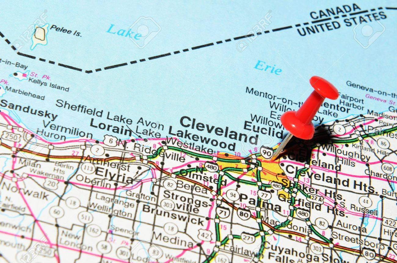 London, UK - 13 June, 2012: Cleveland City Marked With Red Pushpin on