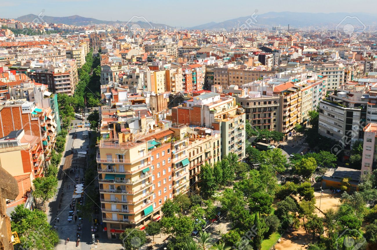 barcelona spain july aerial view of street in the eixample district