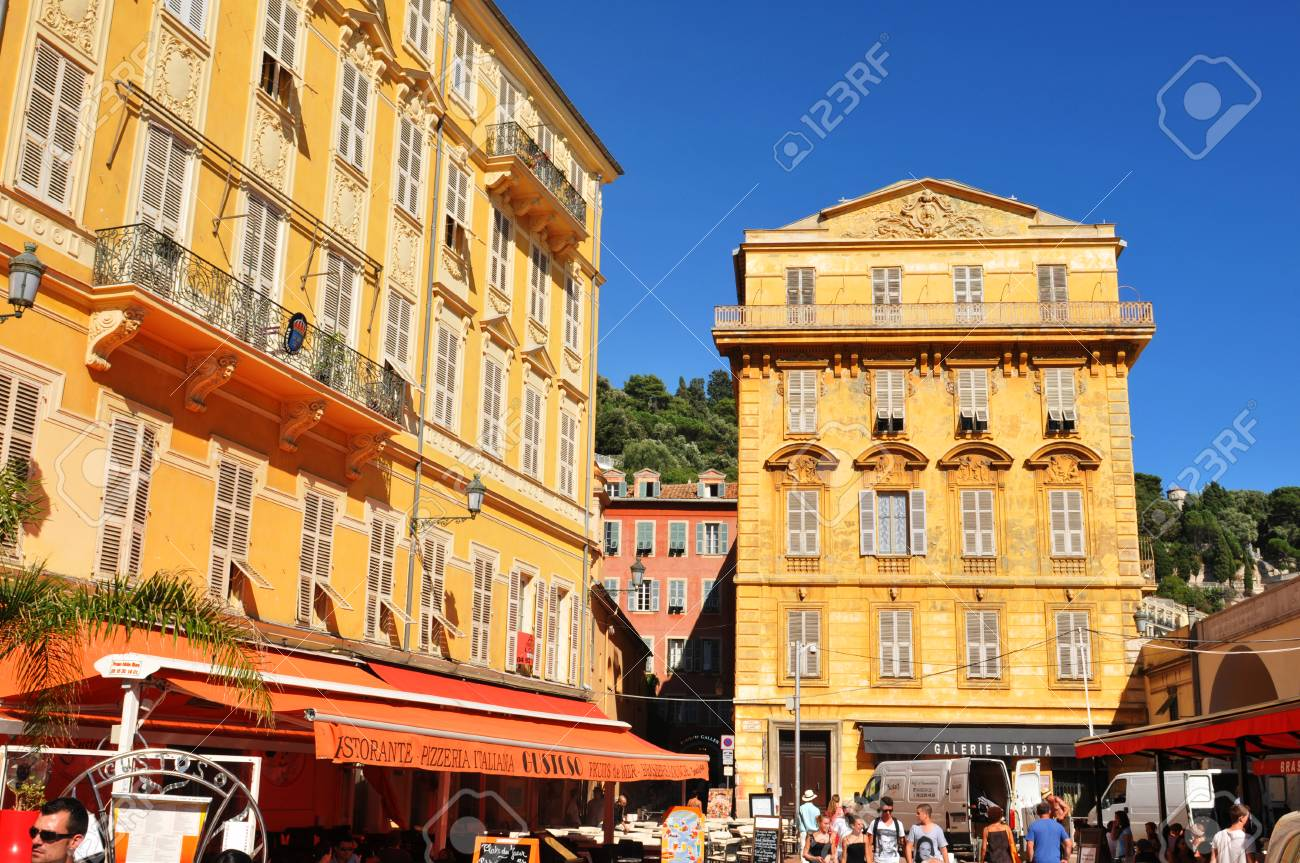 Nice, France - 29 July, 2013 - Tourists visit the old town of Nice, home of major cultural and commercial landmarks  Stock Photo - 22294651