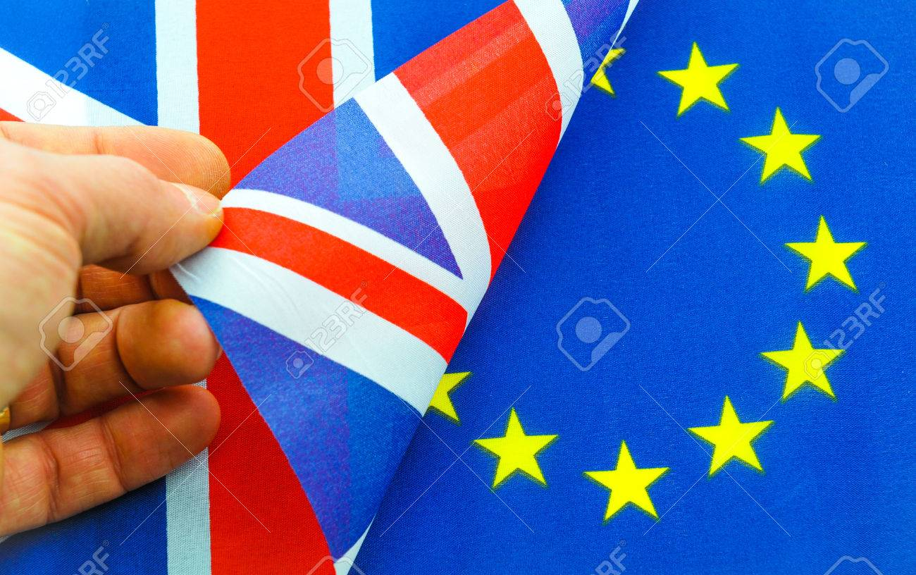Brexit UK EU referndum concept with flags and topical message - 53830927