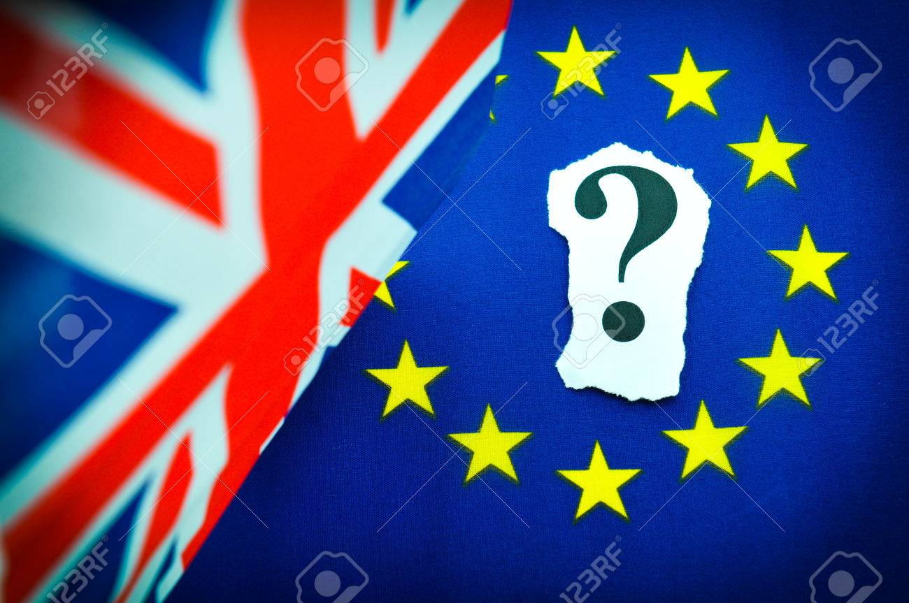 Brexit UK EU referndum concept with flags and topical message - 53830932