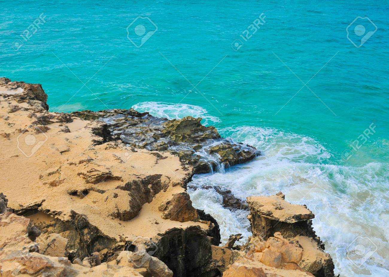 Marine landscape with volcanic rocks in Cape Verde, Africa - 96293188