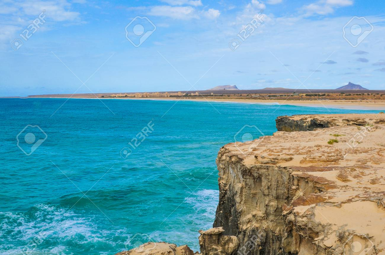 Marine landscape with volcanic rocks in Cape Verde, Africa - 96293190