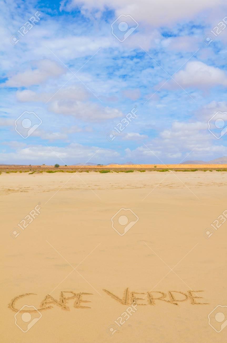 Visit Cape Verde concept written on the sand of a beach in Boa Vista - 96398696