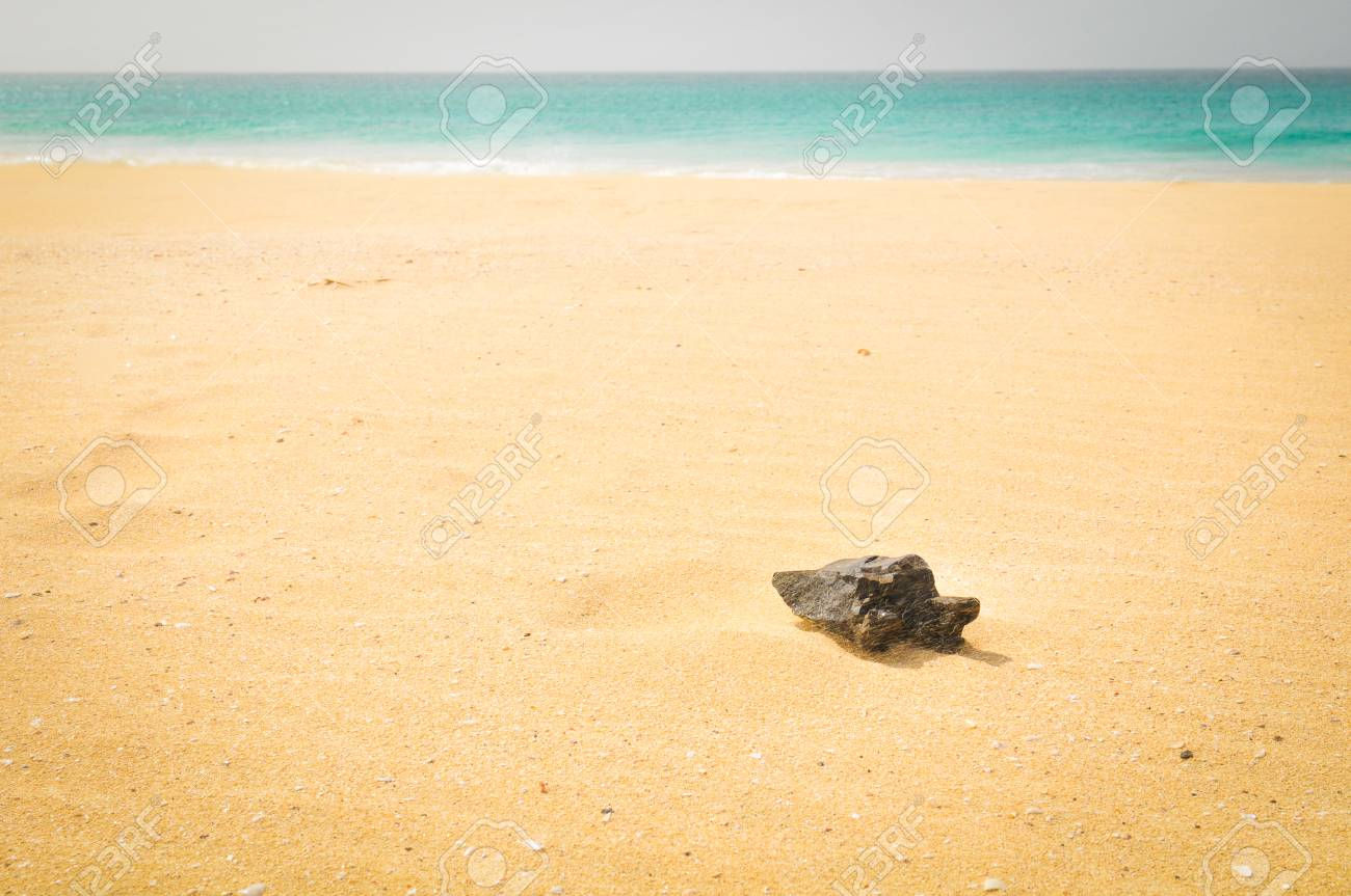 Sea panorama with volcanic rocks in Cape Verde - 96362071