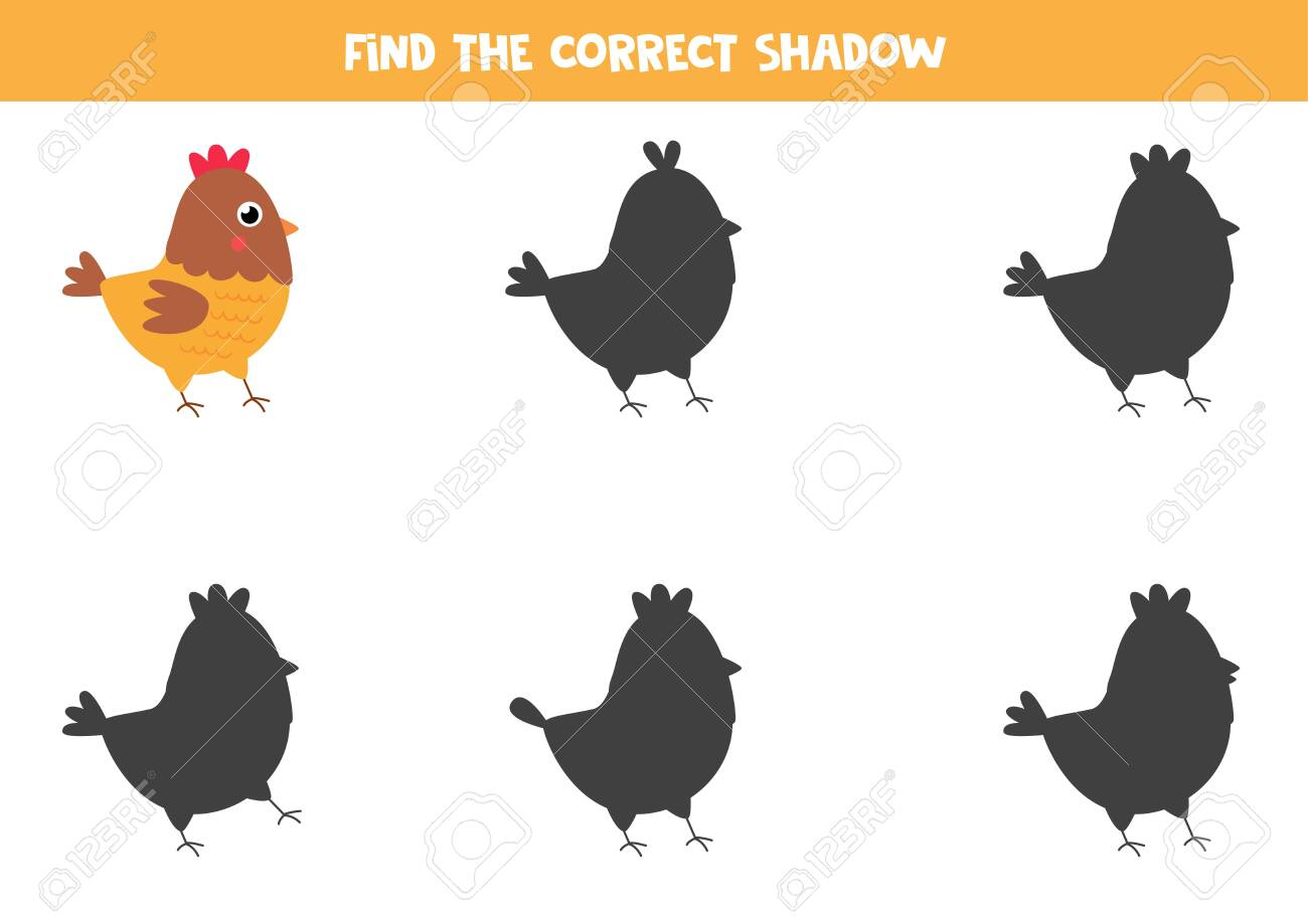 Find the right shadow of cute cartoon hen. Educational game for children. Logical worksheet. - 148516055