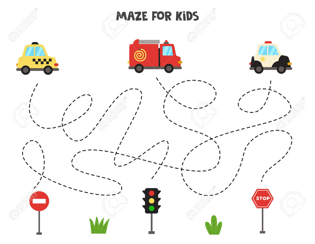 Maze game for kids. Help transportation means get to the traffic signs. Worksheet for children. - 169393529