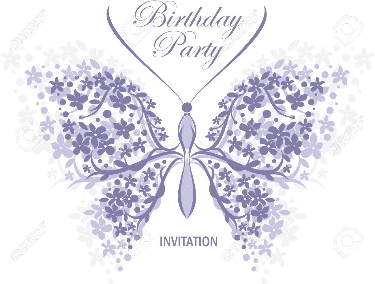 Birthday Or Wedding Invitation Design With Butterfly And Flower ...