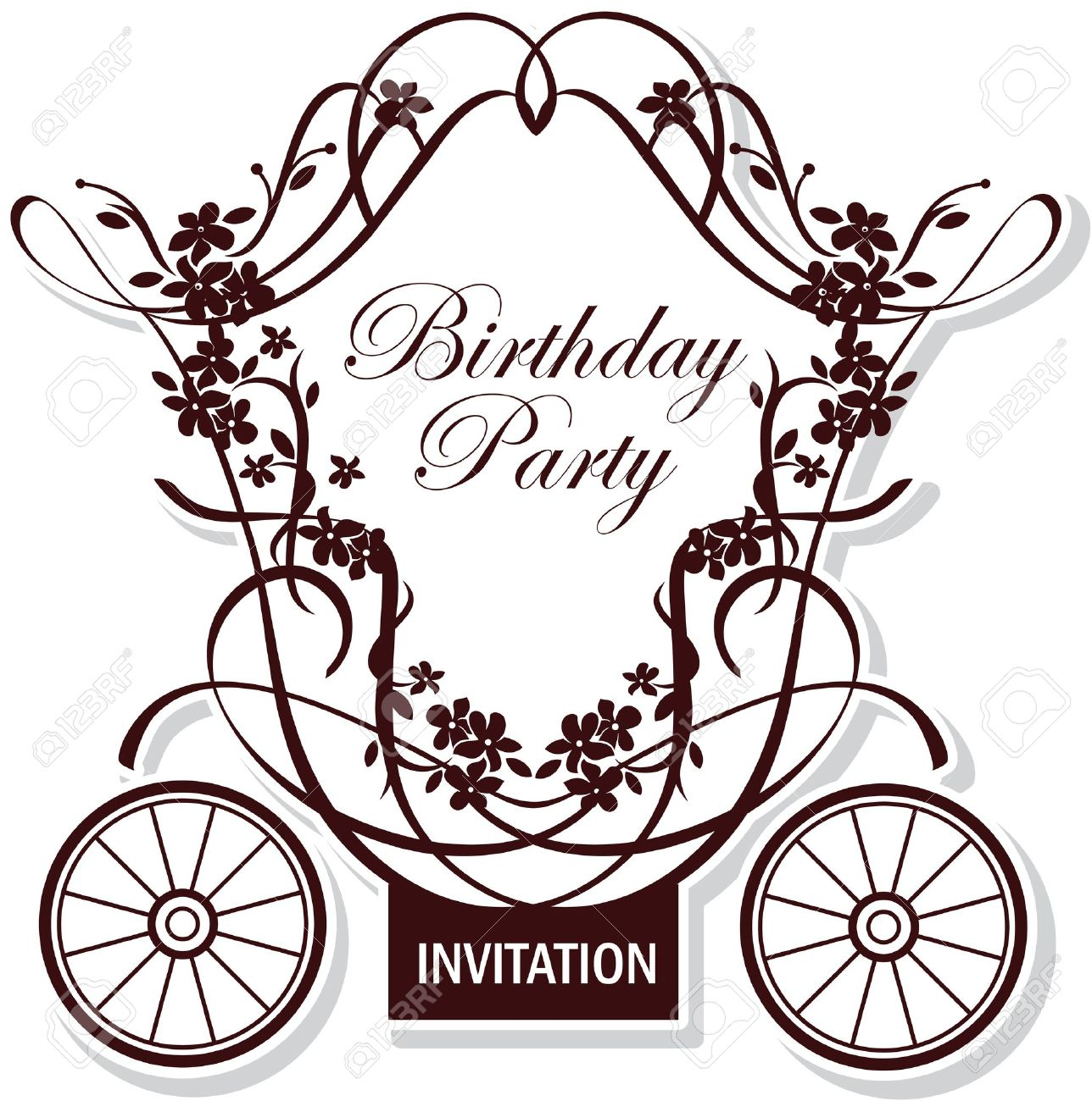 Birthday or wedding invitation design with fairytale carriage birthday or wedding invitation design with fairytale carriage stock vector 9856319 stopboris Images
