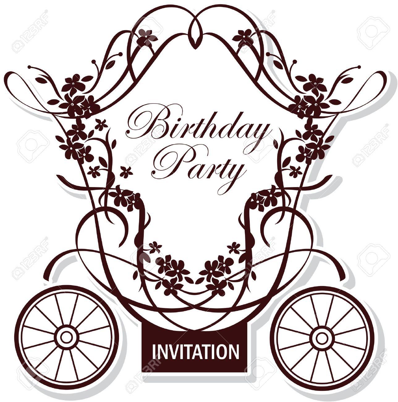 Geburtstag Oder Hochzeit Einladung Design Mit Märchen Beförderung  Standard Bild   9856319