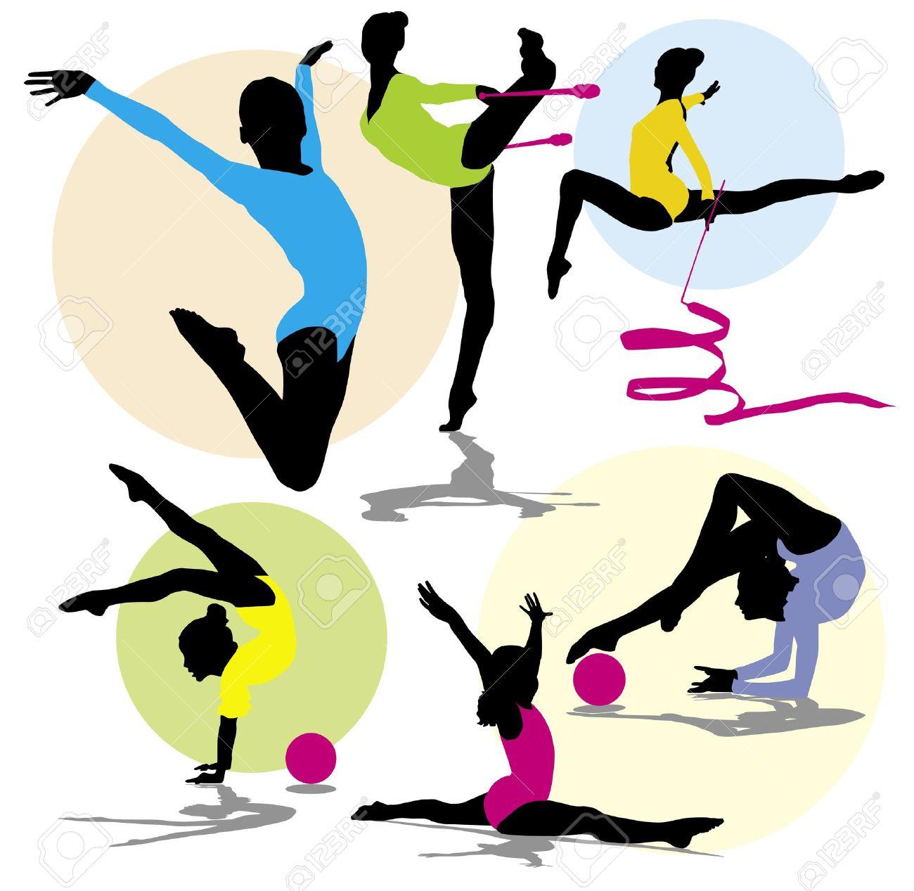 set silhouettes gymnastics Stock Vector - 9932350
