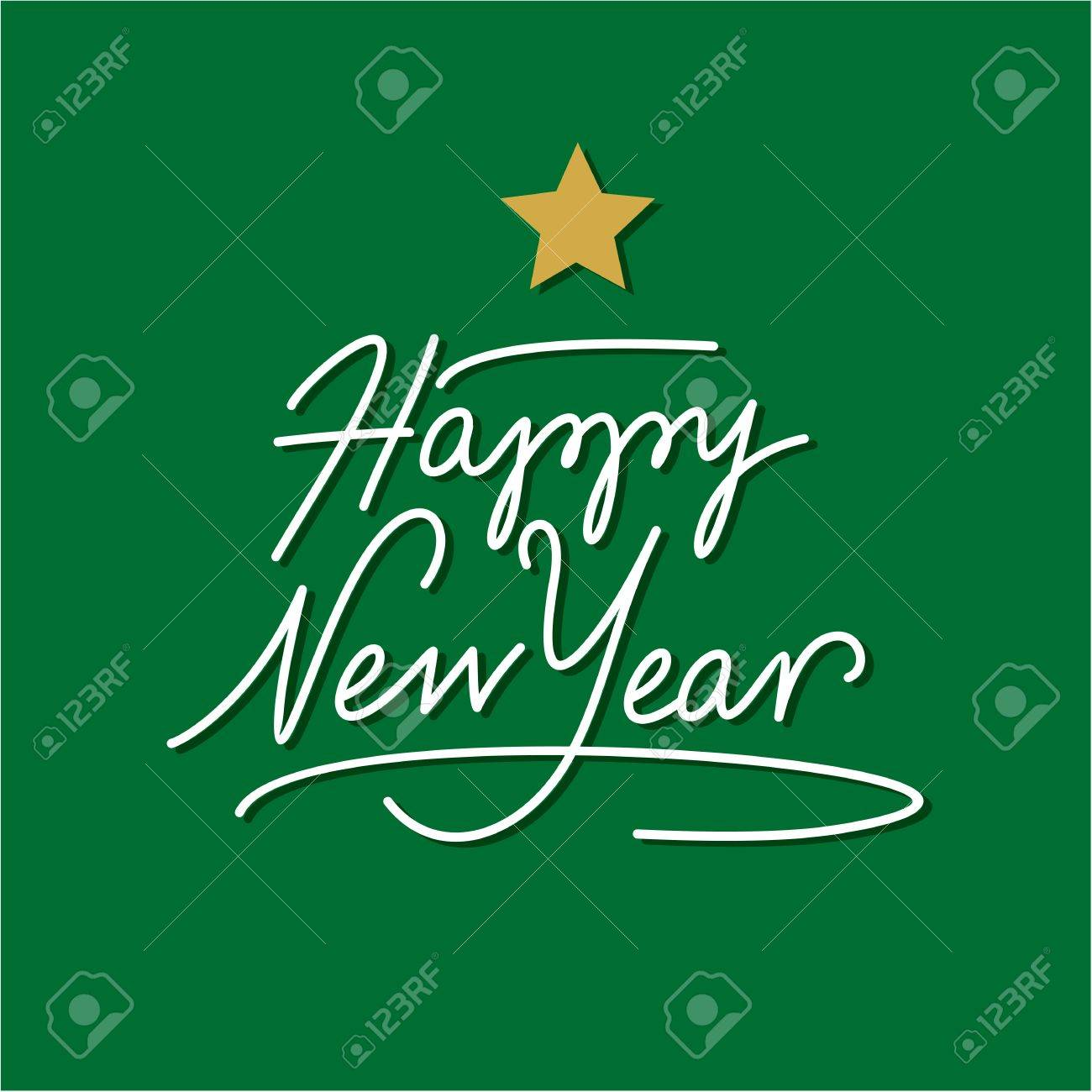 happy new year hand lettering with gold star Stock Vector - 16568699