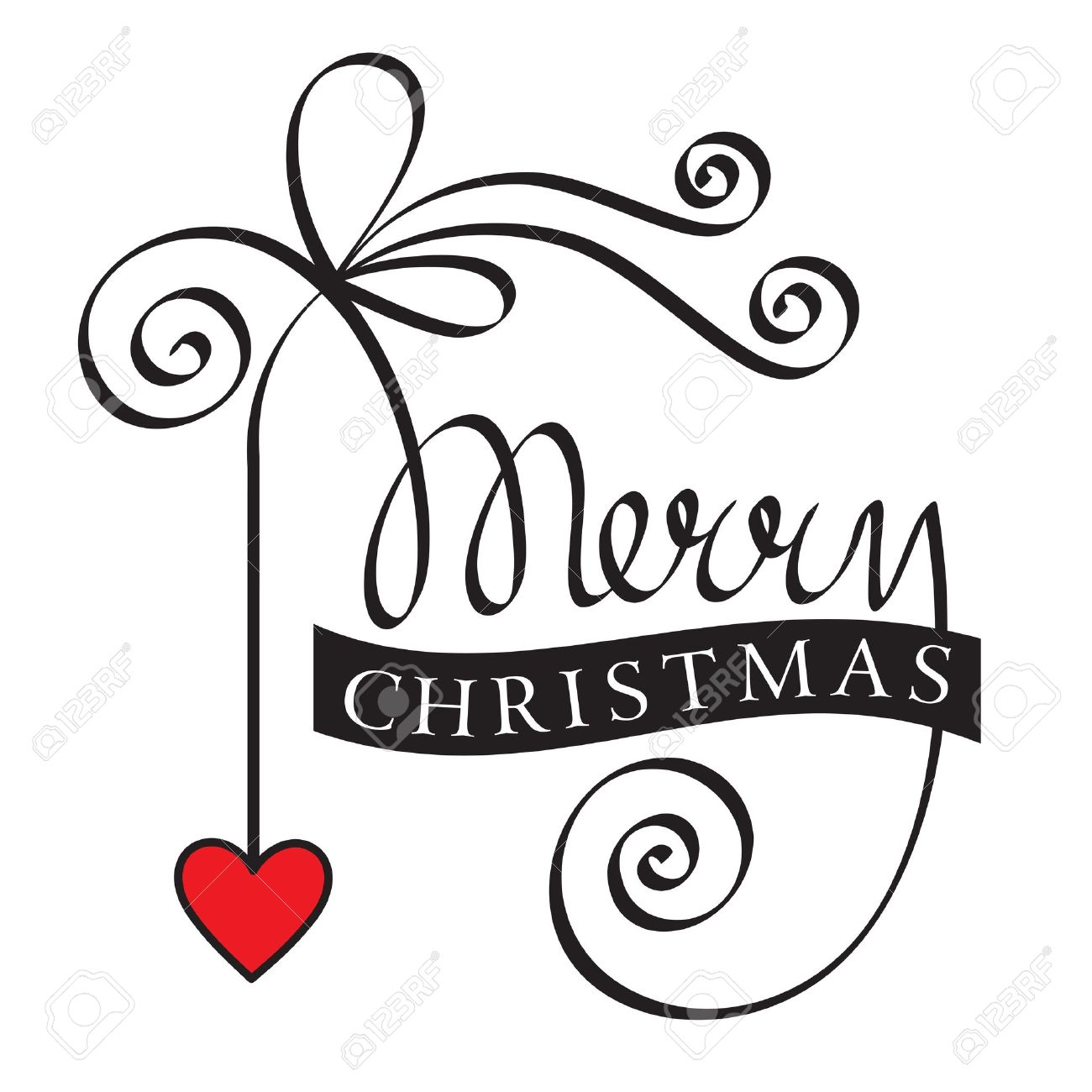 Merry Christmas Hand Lettering With Heart Royalty Free Cliparts ...