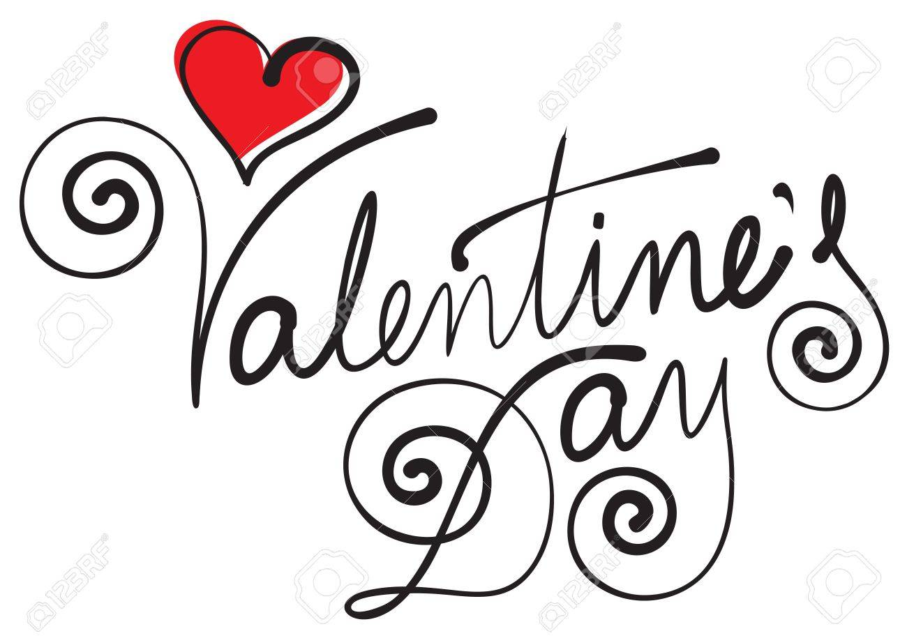happy valentine day hand lettering Stock Vector - 17360538