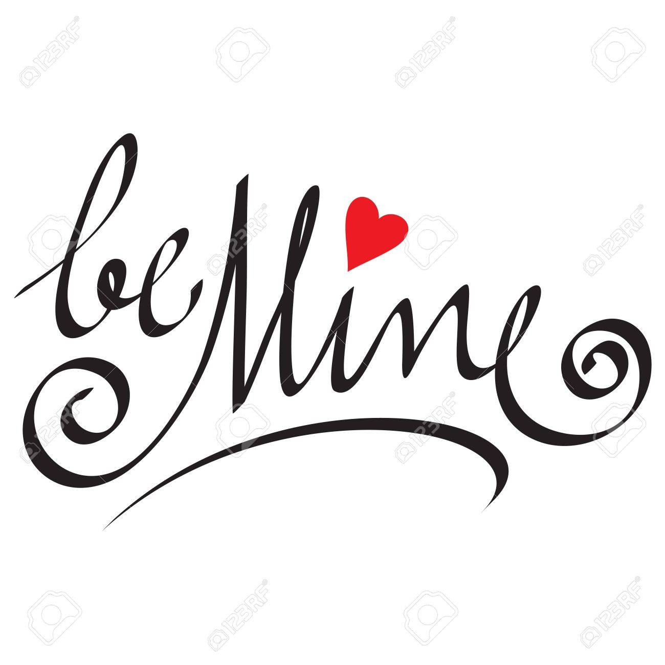 be mine hand lettering Stock Vector - 17438879