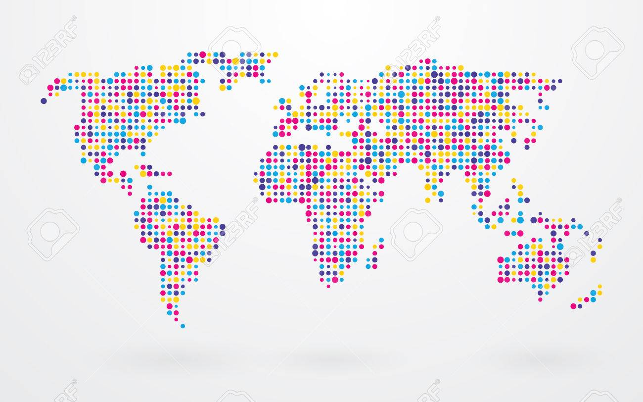 World map made up of small colorful dots ilustraciones world map made up of small colorful dots foto de gumiabroncs Image collections