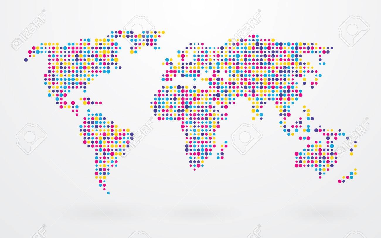 小さなカラフルなドットの世界地図 写真素材 , 29827301