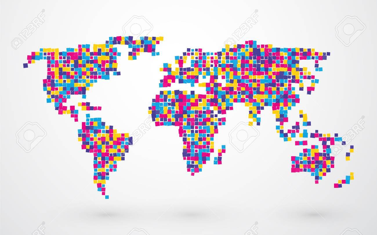 World map made of different colored squares royalty free cliparts world map made of different colored squares stock vector 38967088 gumiabroncs Choice Image