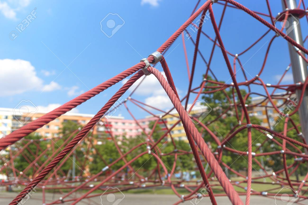 Children Rope Climbing Frame Stock Photo, Picture And Royalty Free ...