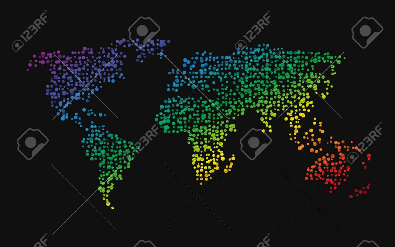 World map made up of small dots rainbow colors royalty free cliparts vector world map made up of small dots rainbow colors gumiabroncs Choice Image
