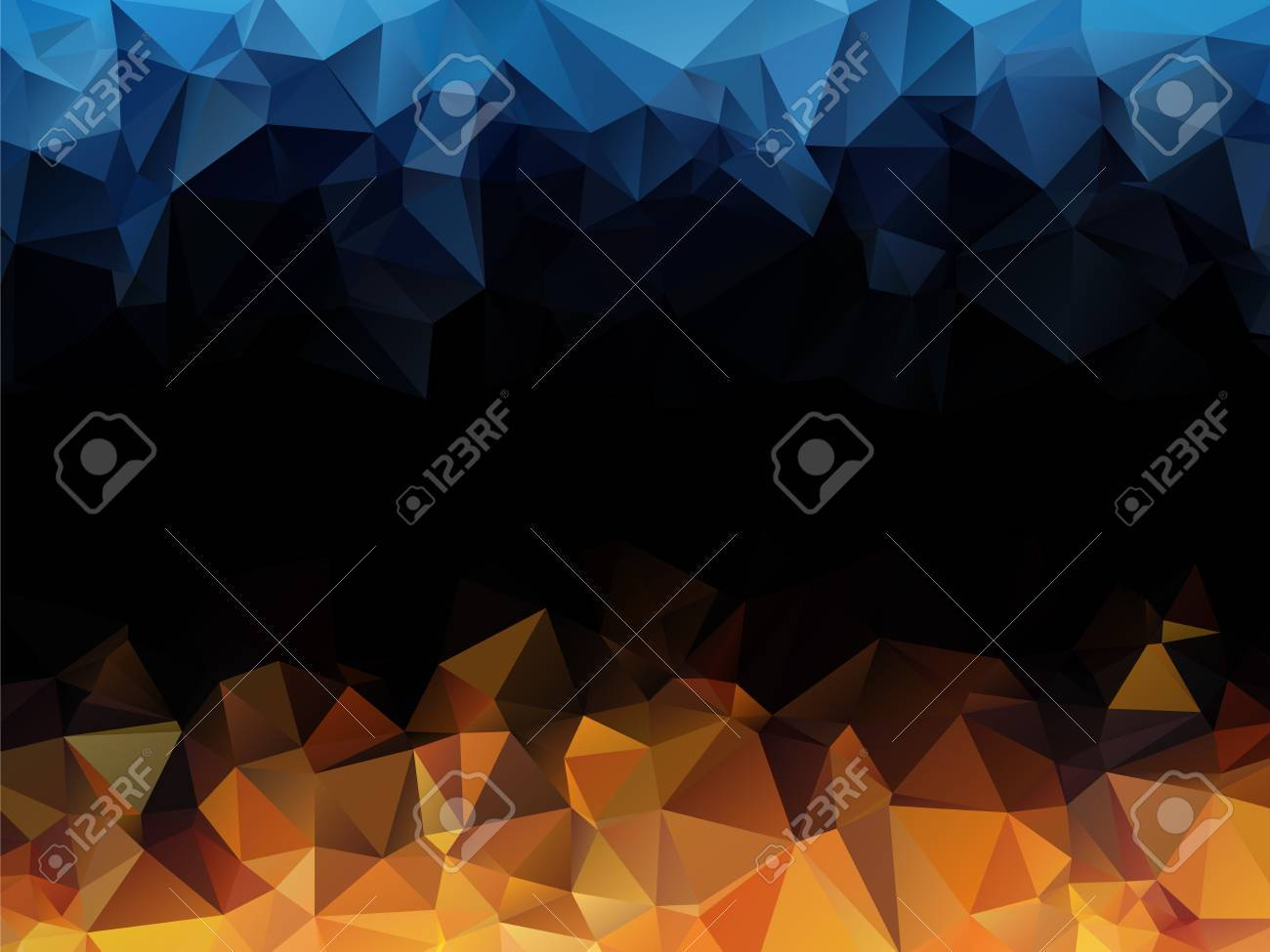 blue orange black abstract triangular background royalty free