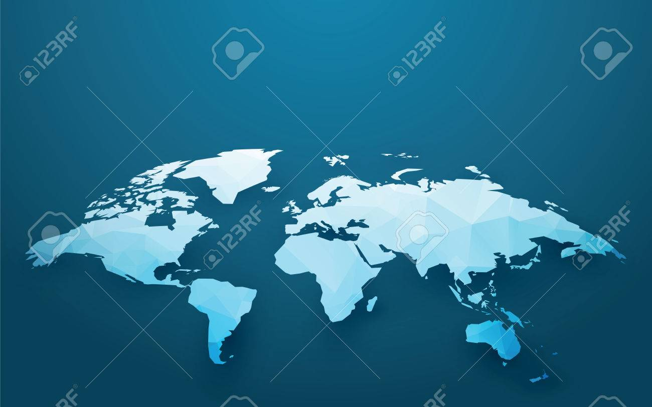 Cool World Map Illustration Blue Ice Style Royalty Free Cliparts