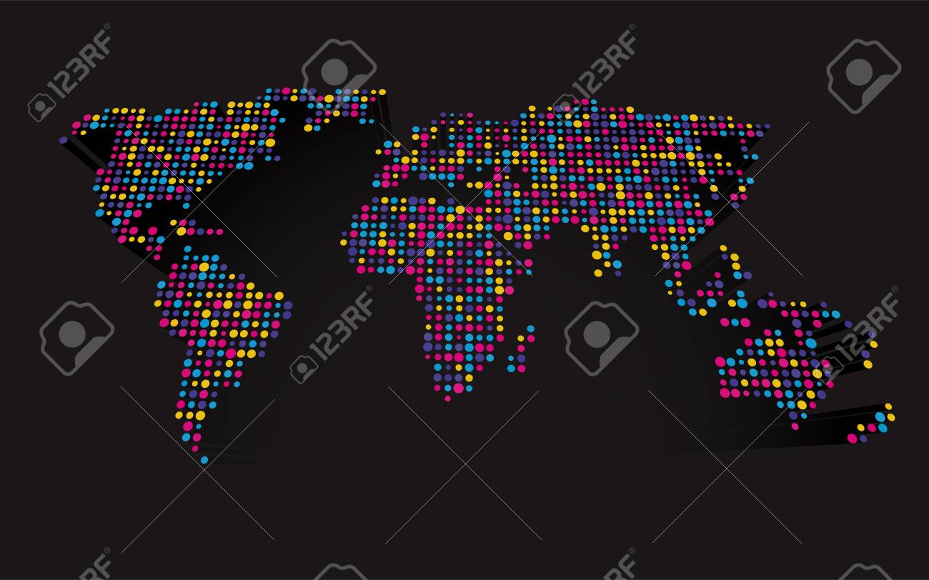 Abstract 3d world map made up of small colorful dots royalty free abstract 3d world map made up of small colorful dots stock vector 84884705 gumiabroncs Images