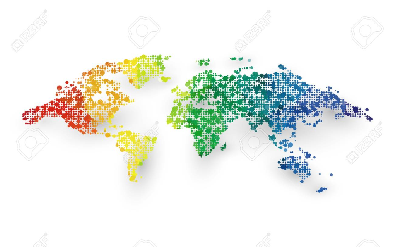 Abstract Colorful World Map Dotted Graphic Design Lizenzfrei ...