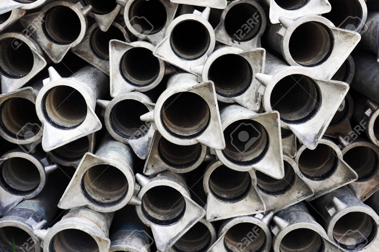 background of metallic tubes pattern Stock Photo - 23207719
