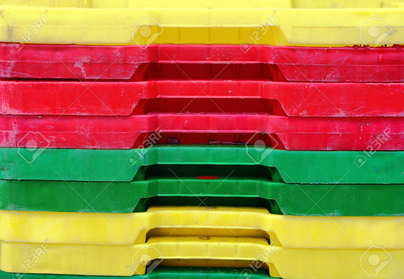 Colorful Plastic Containers Stack For Fish Stock Photo, Picture And ...