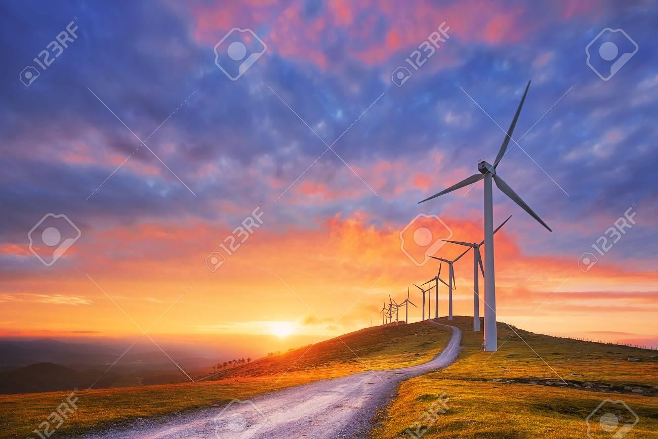 renewable energy with wind turbines - 94031965