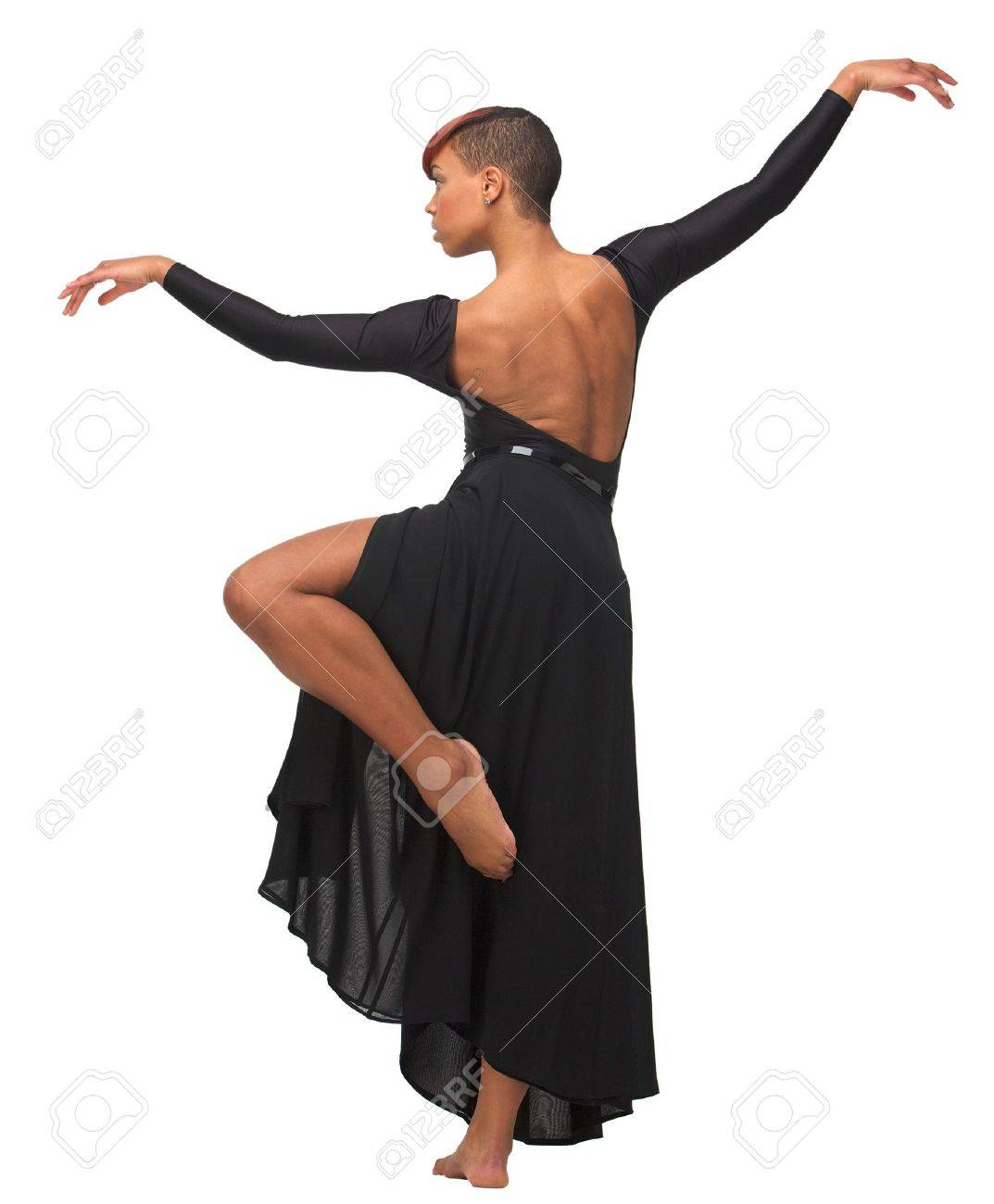 African American woman standing on one leg with arms up Stock Photo - 17287428